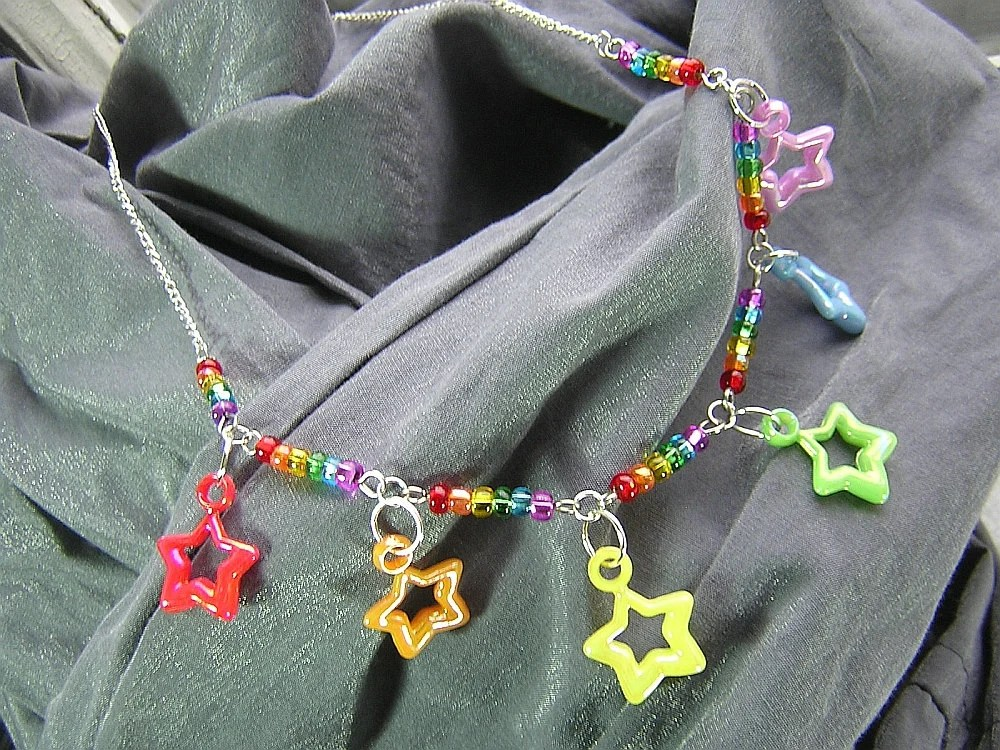 Rainbow Connection Beaded Necklace with Star Charms - Handmade by Rewondered D225N-03980 - $24.95