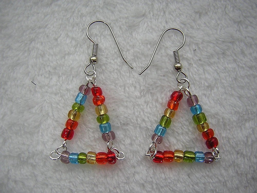 Rainbow Triangle Handmade Beaded Earrings by Rewondered