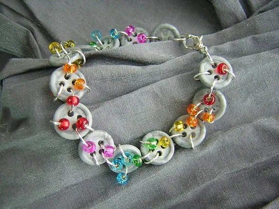 Rainbow and Button Rain Clouds Handmade Bracelet by Rewondered
