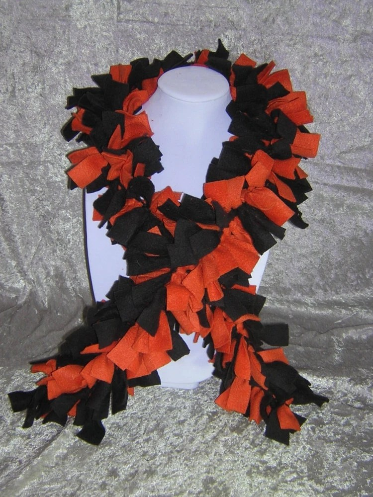 Hand-Tied Knotted Fringe Fleece Boa Scarf - Handmade by Rewondered D201S-00001 - $24.95