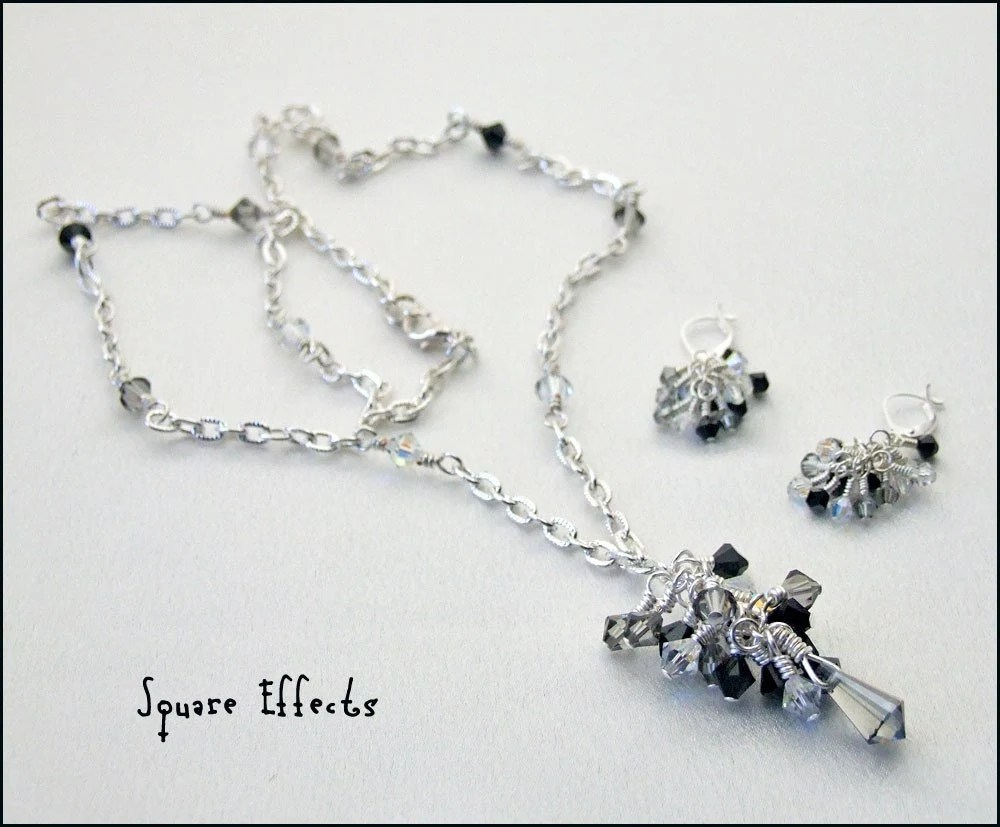 Elegant Swarovski beaded necklace and earrings-spectacular cascading crystals