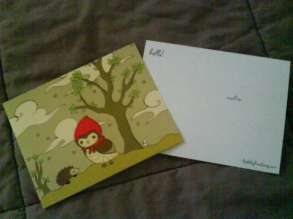 little red riding hoot postcard set