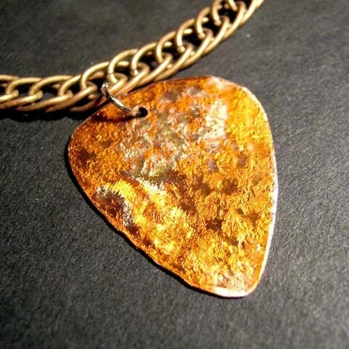 metal guitar pick necklace  - golden years