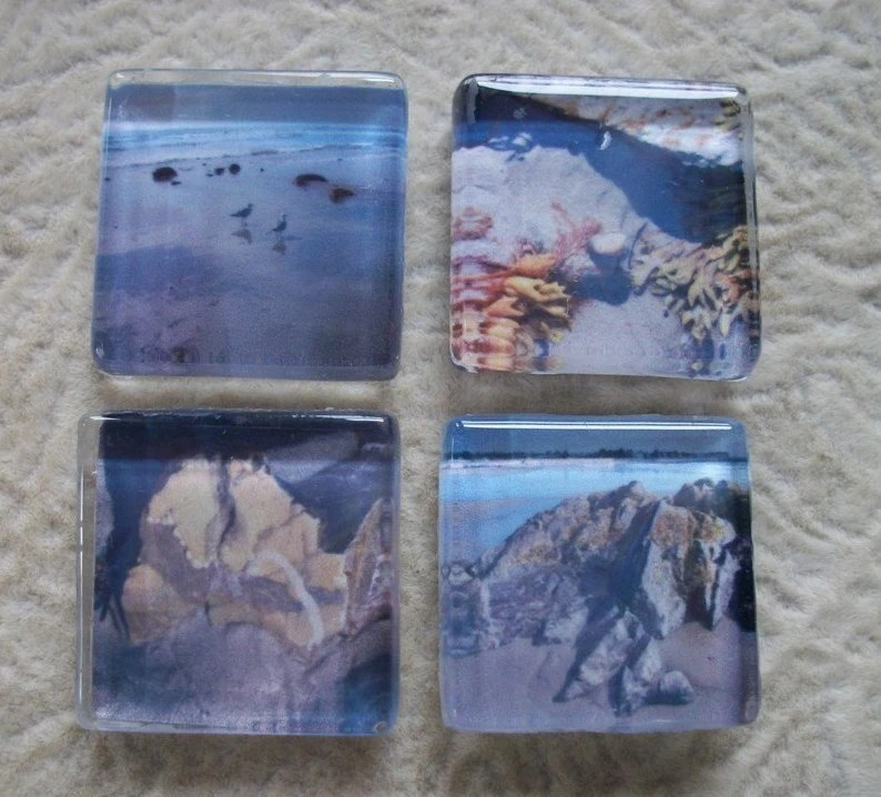 Beach Wandering - Glass Tile Magnets - Set of 4