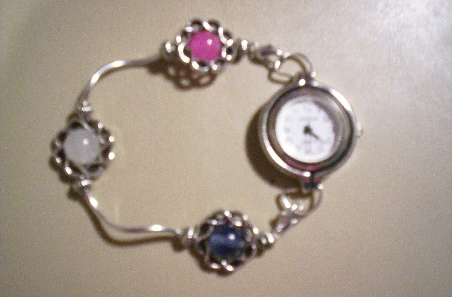 PINK, WHITE and BLUE Beaded Swap Bracelet Watch Band or Medical Alert Tag Band
