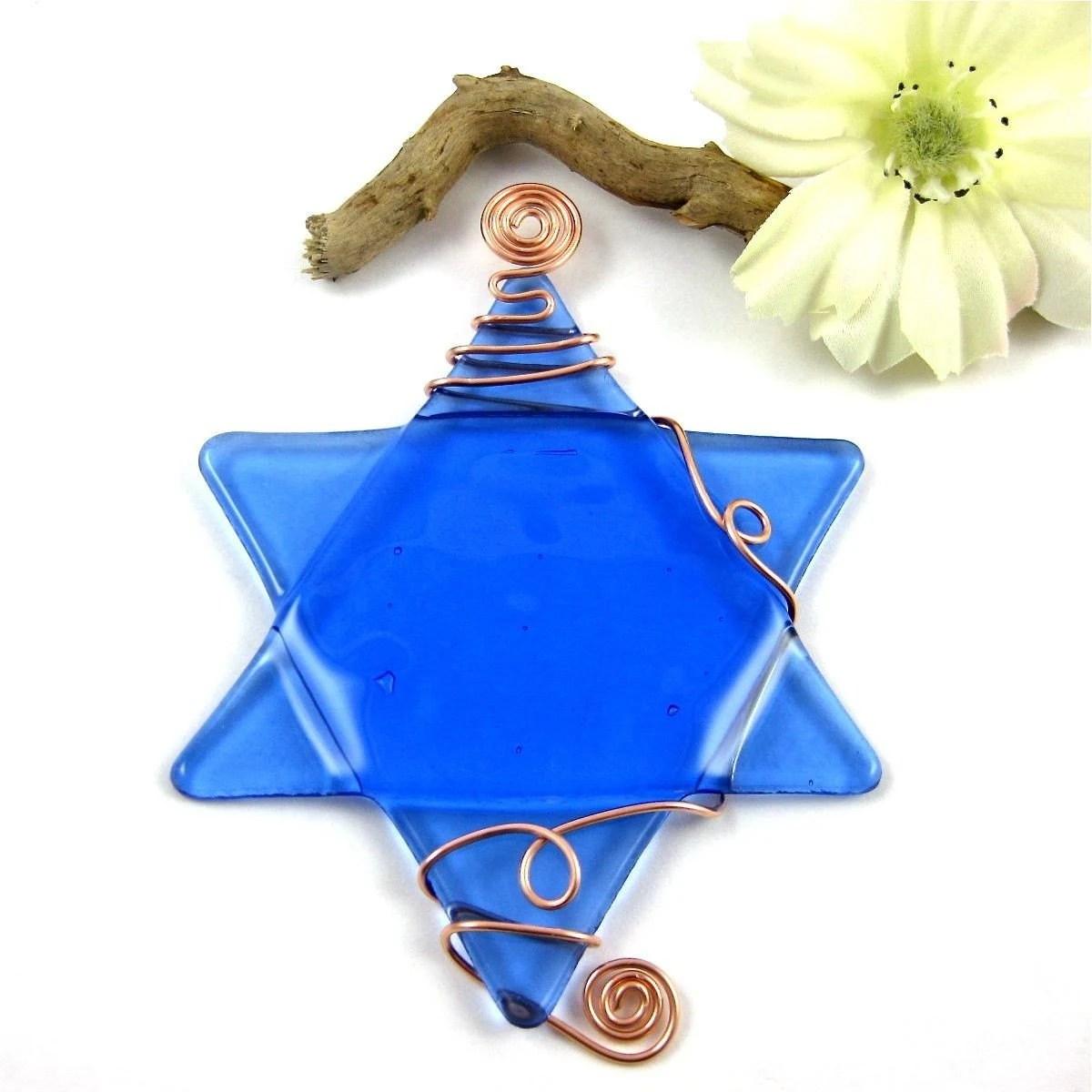 Beautiful Light Blue Fused Glass Star of David