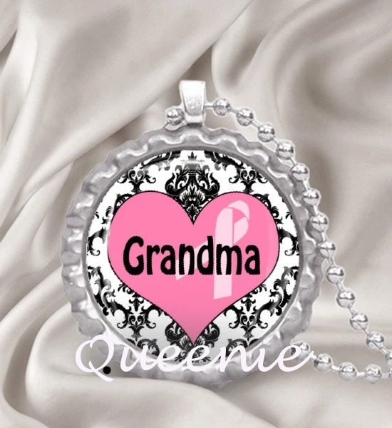 BREAST CANCER AWARENESS -- GRANDMA 006 -- Bottle Cap Pendant -- FREE NECKLACE