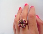 Donuts ring - miniature Polymer Clay doughnut with hot chocolate and sprinkles adjustable ring - unique gifts for birthday party and holidays