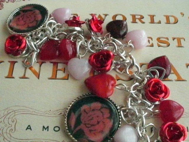 American Beauty Red Roses Charm Bracelet Valentines Day Sale Queen of My Heart Charm Bracelet With a Dozen Ruby Crimson Red Roses