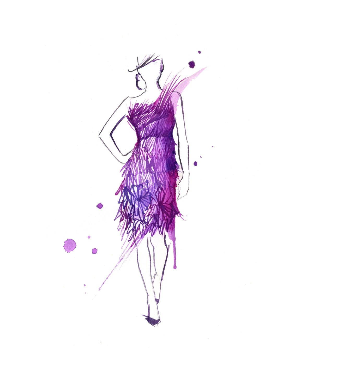 Watercolor Fashion Illustration - Pink Geometric Dress print