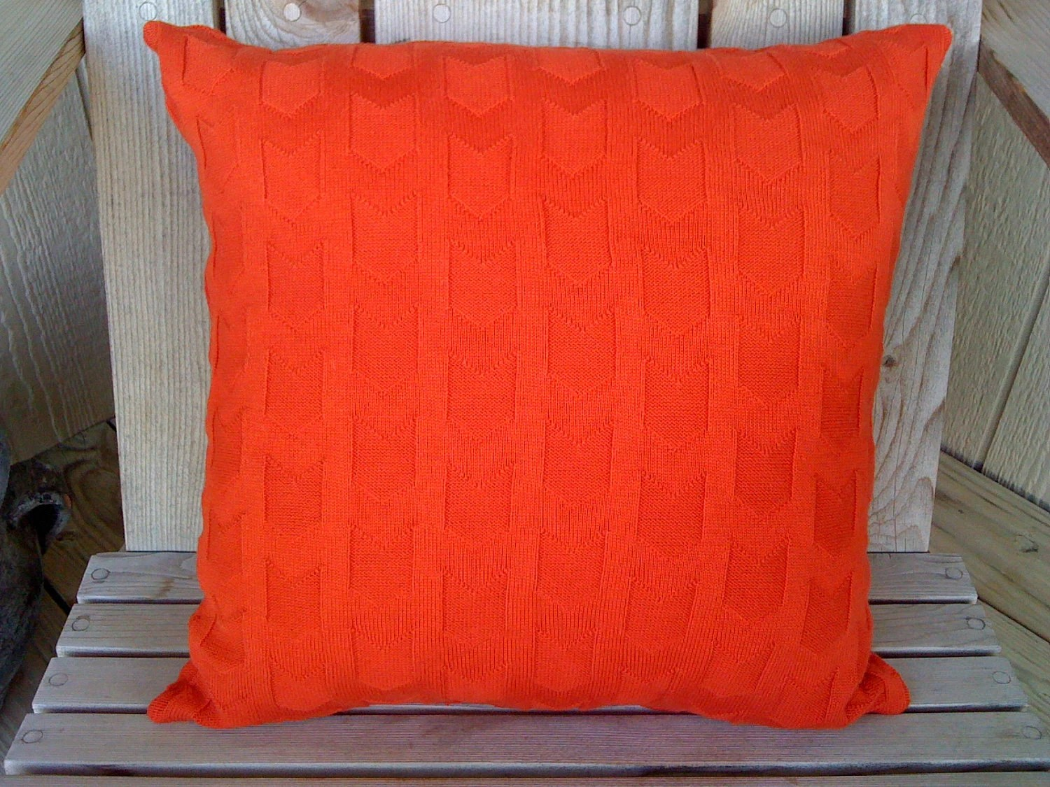 Orange Sweater Pillow 16 inch - Pillow Form Included