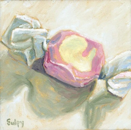 PINK AND WHITE SALT WATER TAFFY 8x8 Original Oil Painting by Lynn Sulpy