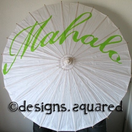 Custom Painted Parasol - Thank You, Mahalo, Amore, Gracias