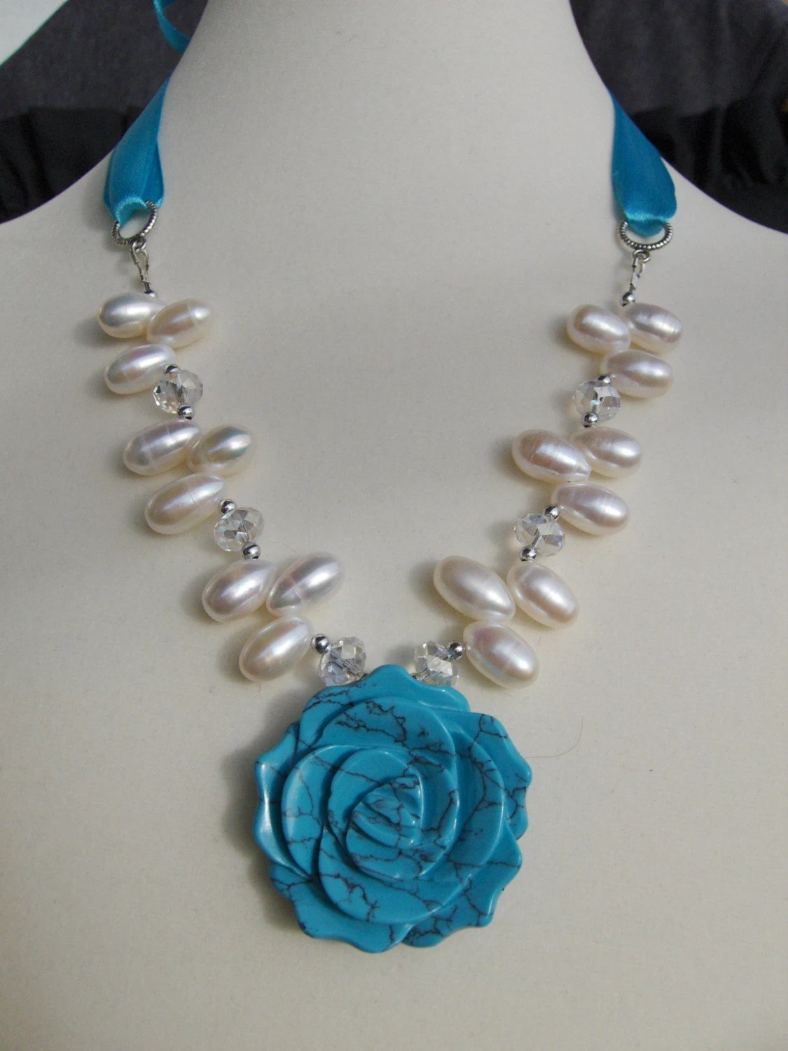 Charming turquoise flower necklace, freshwater pearls and Swarovski crystals FREE shipping
