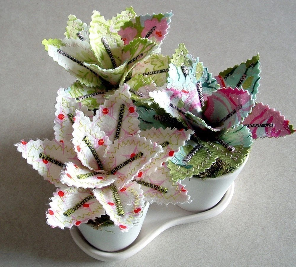 Sweet Potted Fabric Plants by Jane Joss