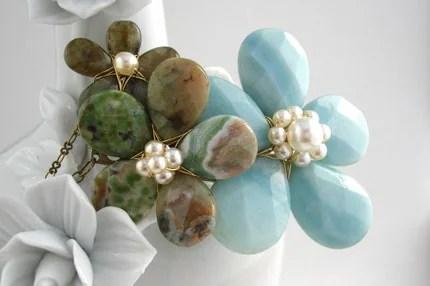 Amazonite and ocean jasper pearl necklace