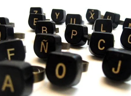 Ring - Vintage Typewriter Key - letter Y - Adjustable