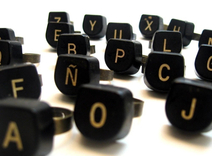 Ring - Vintage Typewriter Key - letter Y - Adjustable