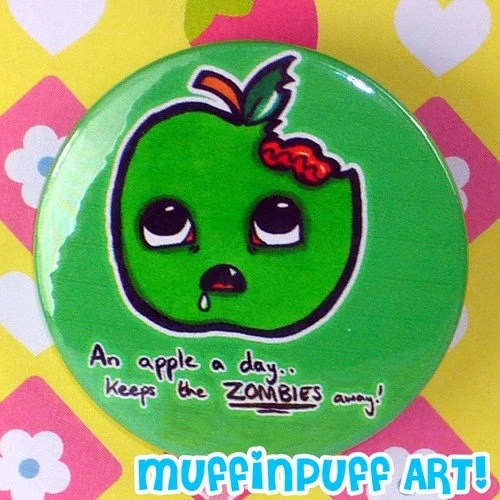 An Apple a day keeps the Zombies away 1.5 inch badge