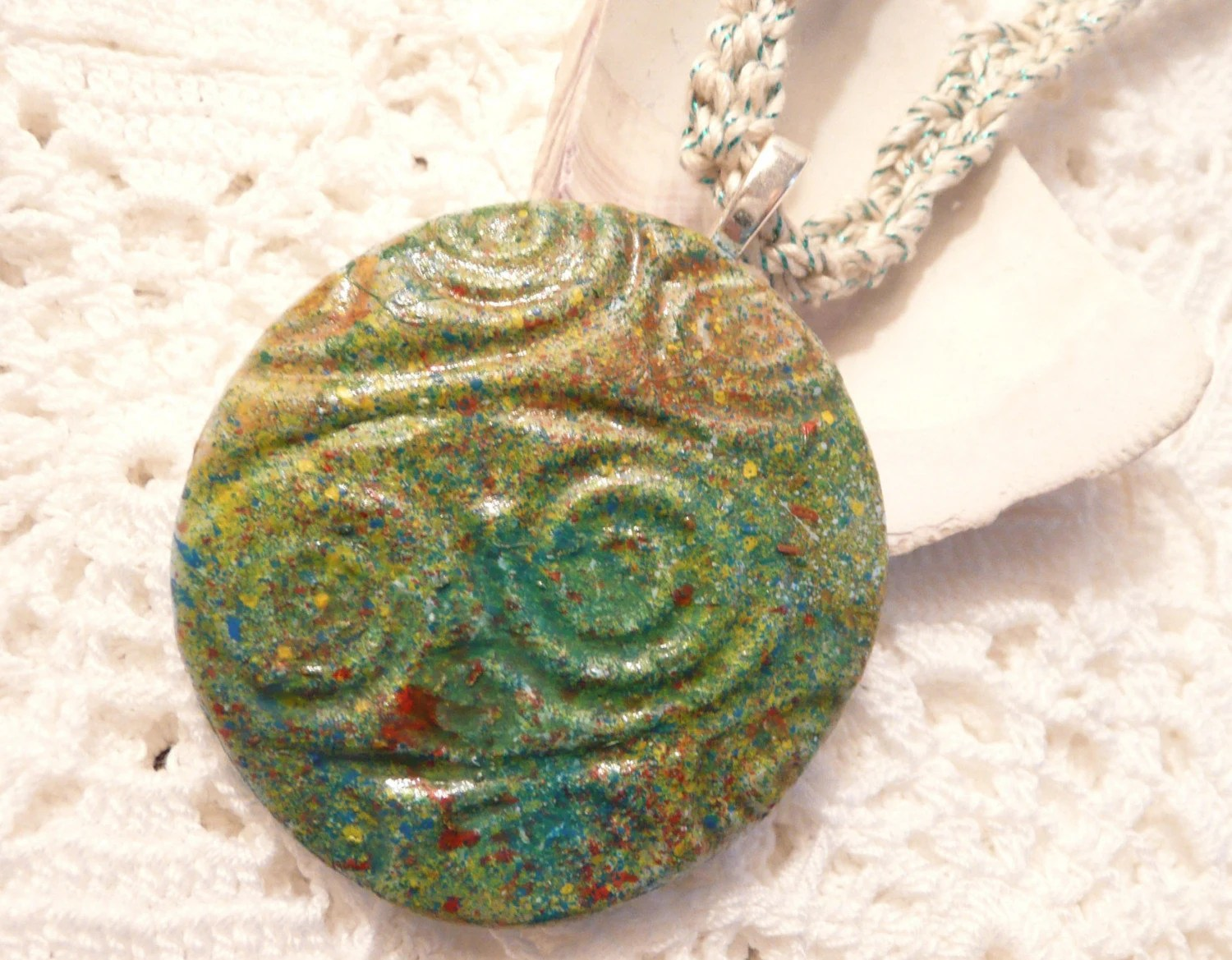 Clay and Crochet - Faux Ceramic Pendant on Crocheted Necklace