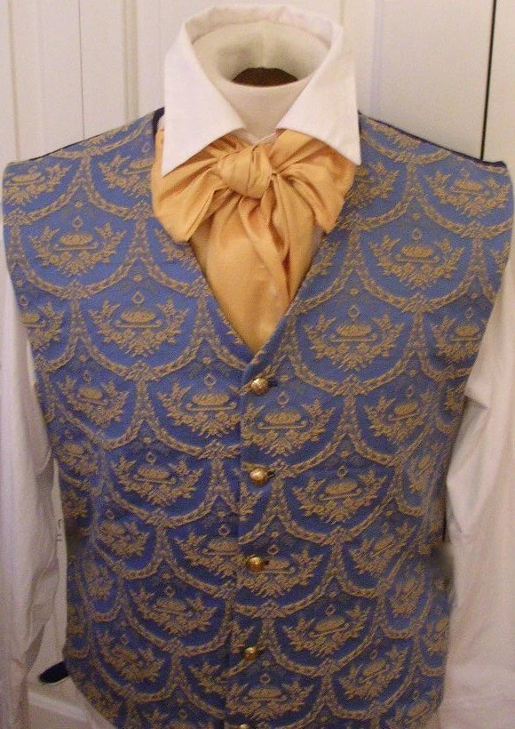 Handmade Tailored Period Regency Victorian Waistcoat Vest Blue and Gold Crested Jaguard