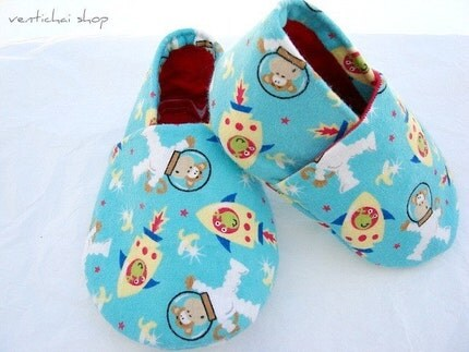 Space Monkey and Alien Baby Shoes Booties Slippers