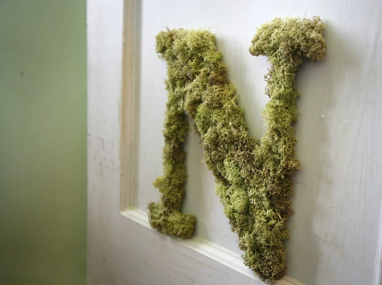 Letter N Custom Moss Hanging Wreath Initial