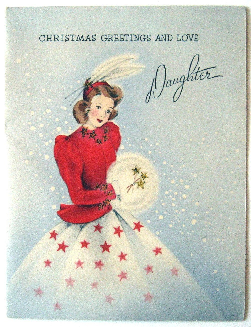 Vintage Card - Christmas Greetings and Love Daughter