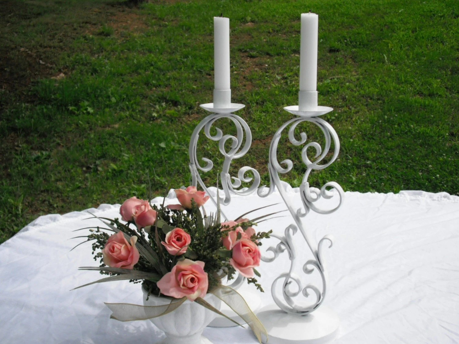 Vintage Brass White Candle Holders
