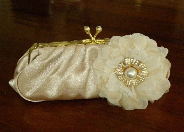Amanda Couture - Ivory Champagne Satin Bridal Purse with Silk Flower and Crystal Gold Pearl Accent