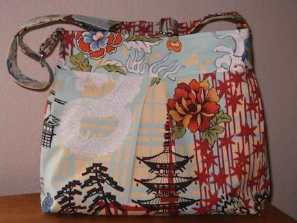 Pleated Hobo Messenger Bag with Adjustable Strap in Alexander Henry's Koto