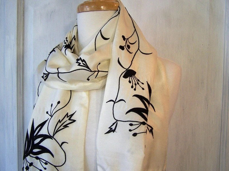 Vintage Embroidered Silk Extra Long Scarf