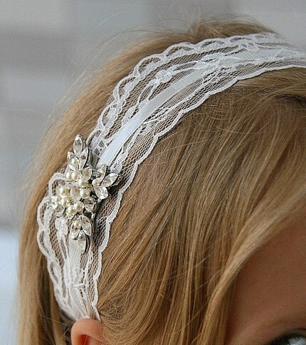 NEW Susan.  Off White  Vintage style headband(silver)
