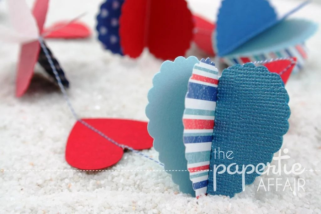 Gorgeous Paper Garland - Red/White/Blue Hearts