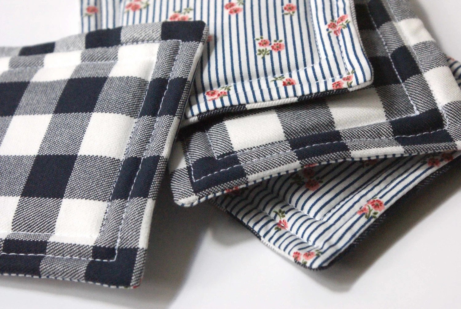 Reversible Quilted Fabric Coasters, Navy Floral/Checkered -- Set of 4