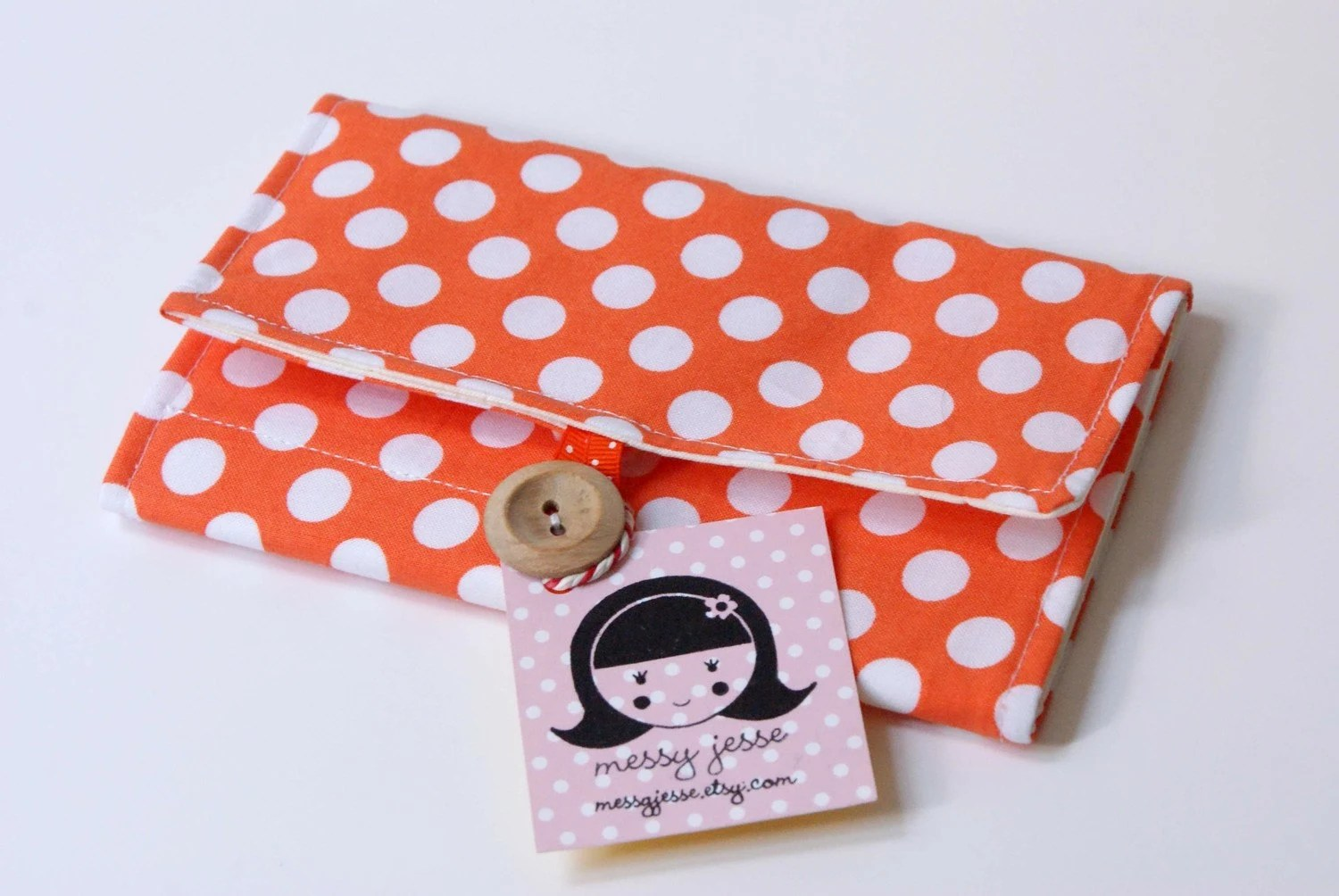 Cozy Crochet Hook Organizer, Citrus Orange Polka Dot