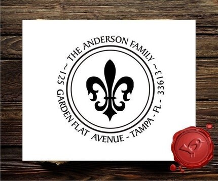 Fleur De Lis  Custom calligraphy personalized  address self- inking rubber stamp - style 1266
