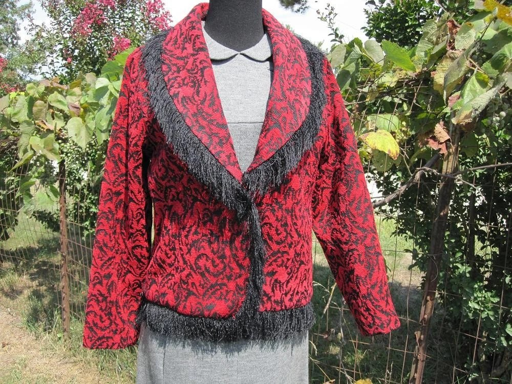 Vintage Brocade Cropped Jacket With Fuzzy Fringe