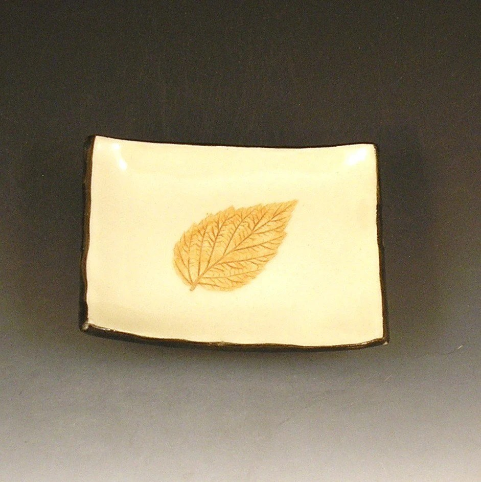 Small Handbuilt Ceramic Tea Bag Rest with Raspberry Leaf Imprint