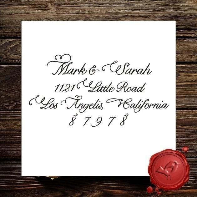 NEW DESIGN Custom Calligraphy Personalized  save the date or address rubber stamp cute  wedding  gift - style 9016