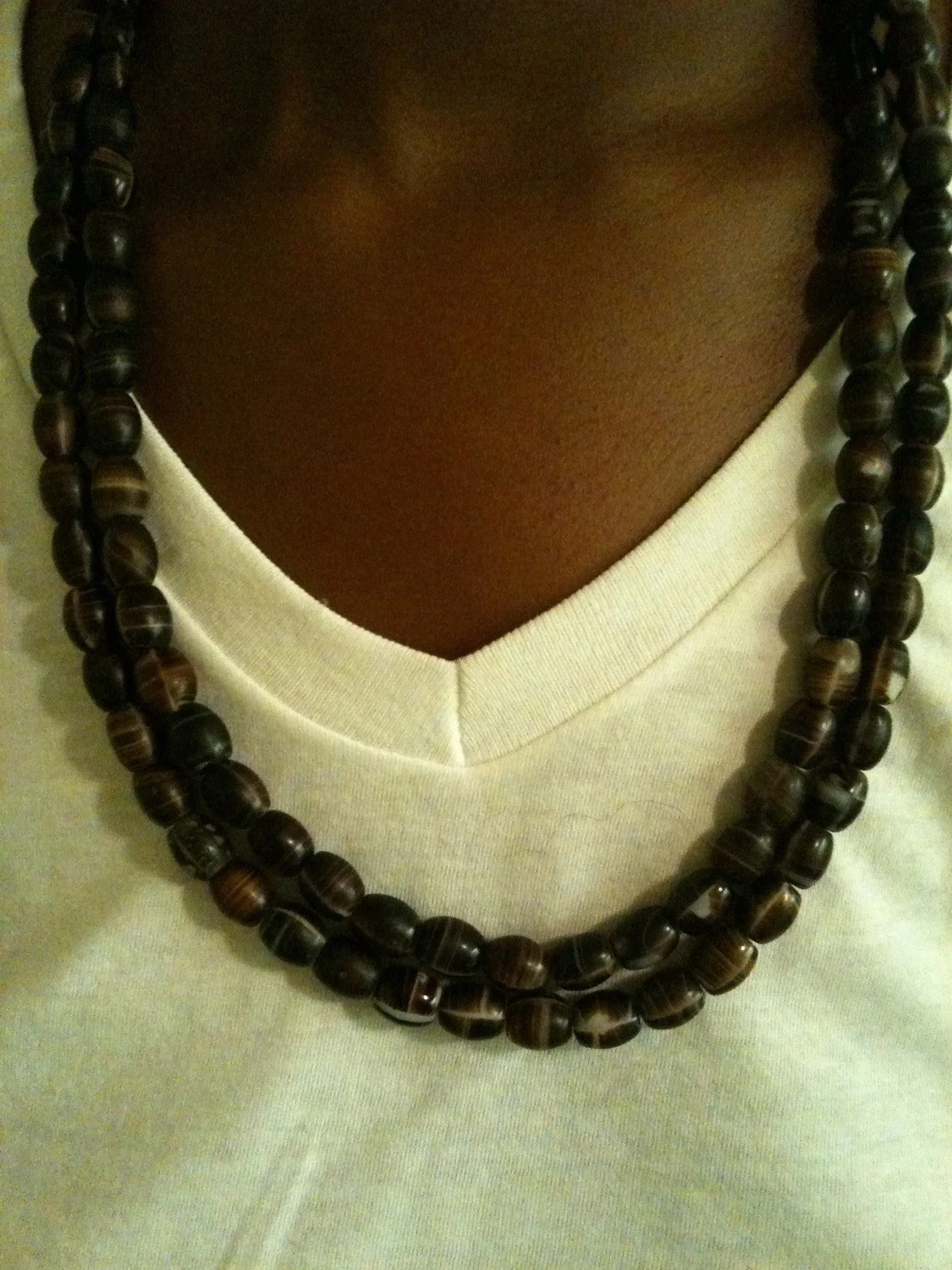 Wooden strung oval beads