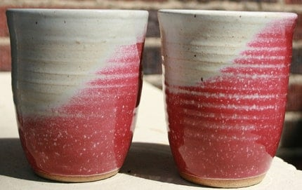 pair of maroon and white cups