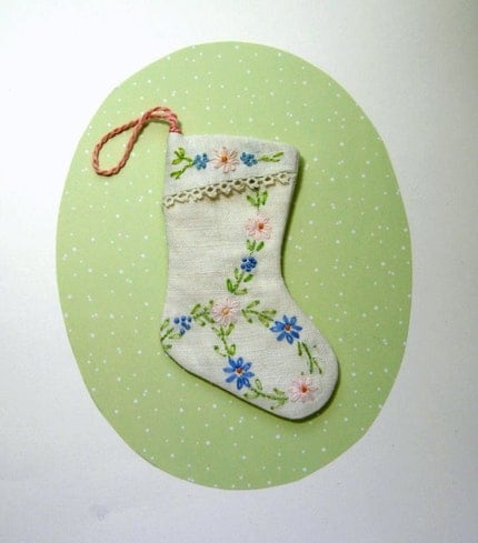 Embroidered Linen Mini Stocking