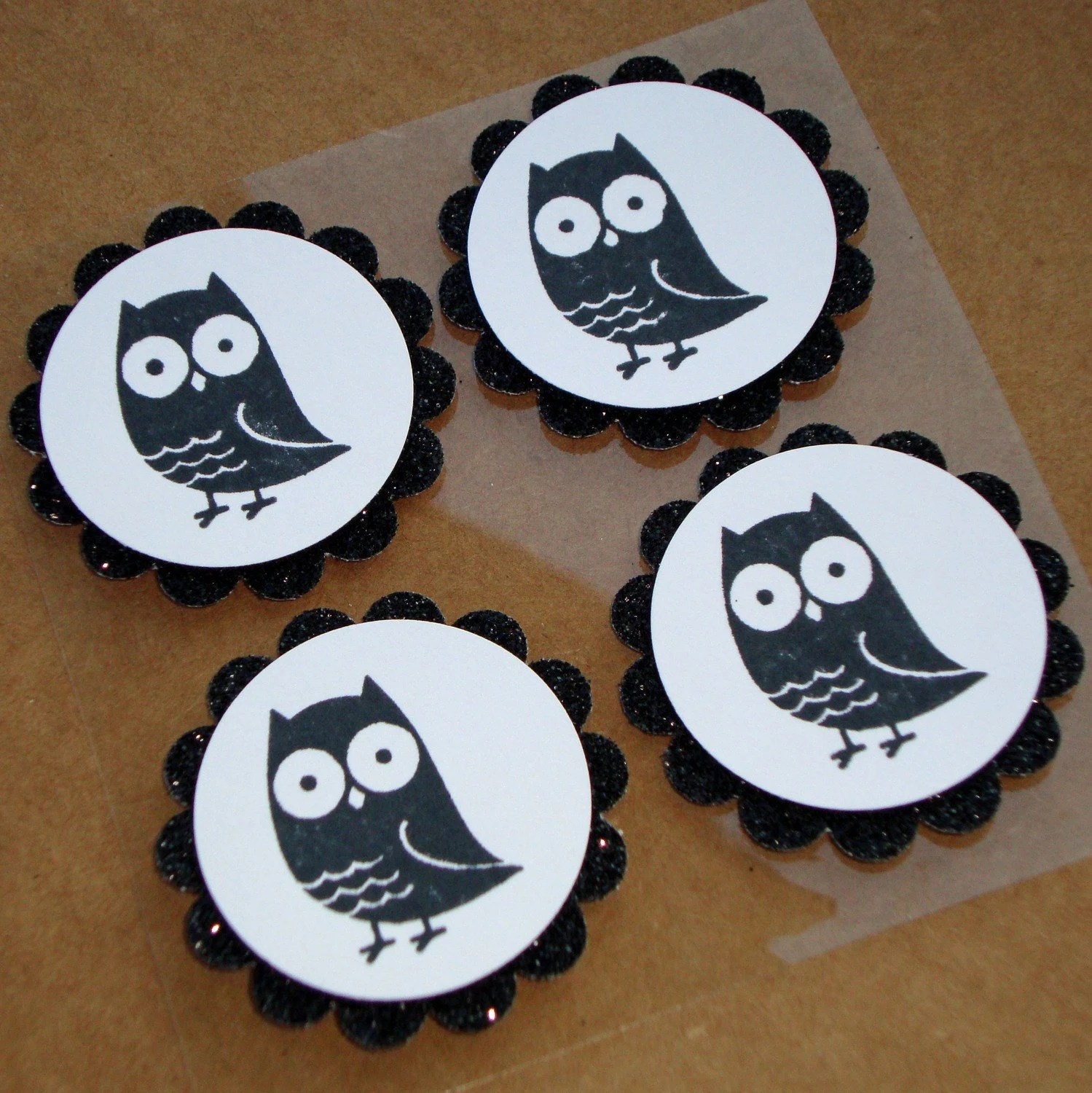Hoot Hoot - Black and White Halloween Owl Embellishments