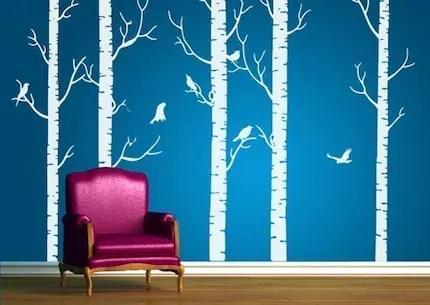 Vinyl Wall Art Decal -- Birch Forest Decals