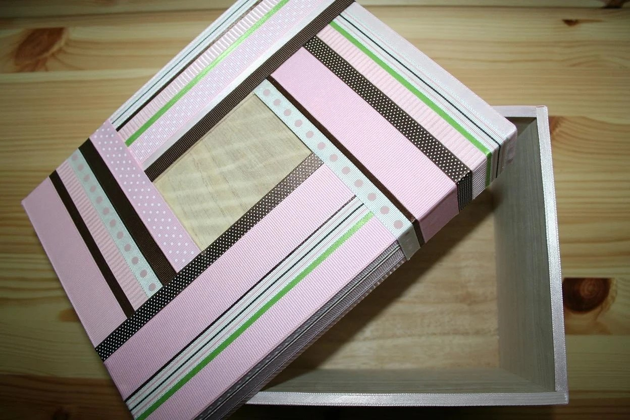Baby Shower Memory Photo Keepsake Box Pink Brown and Green