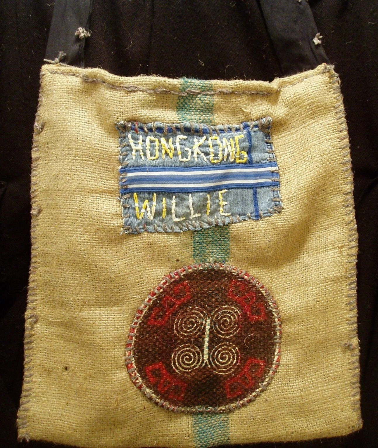 Recycled burlap coffee purse.