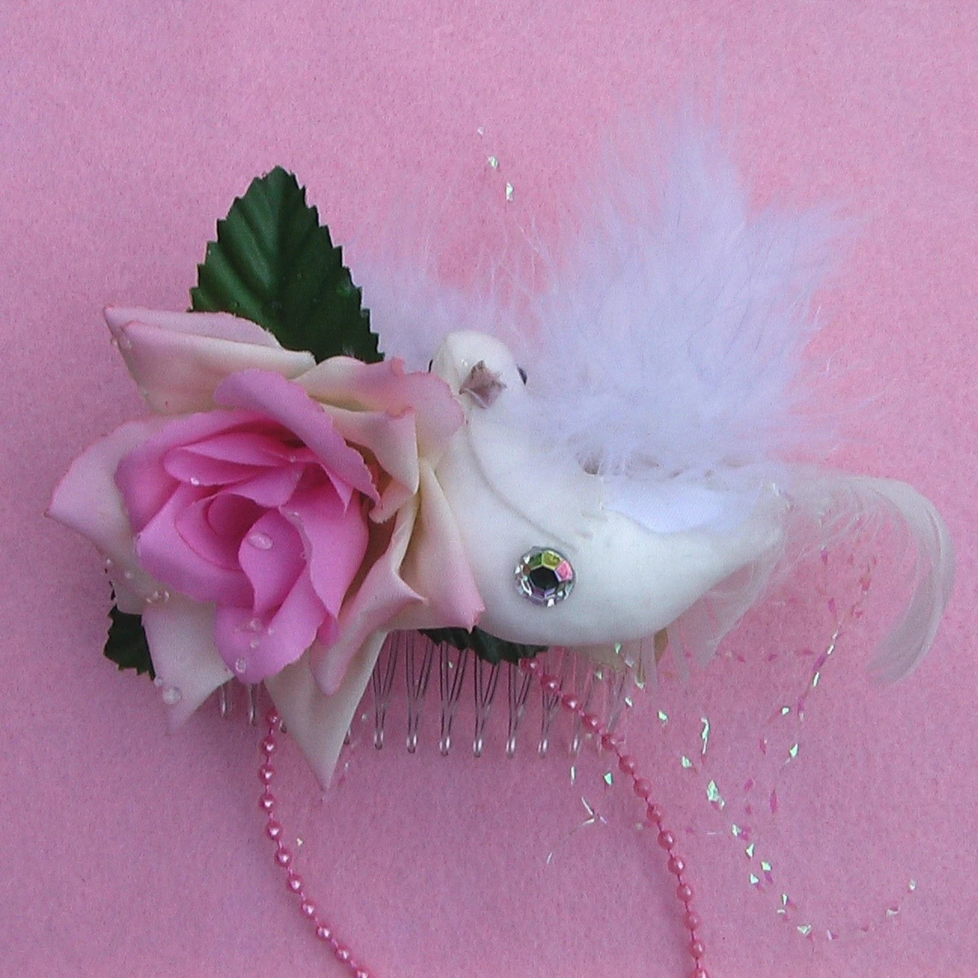 Rose and Dove Haircomb