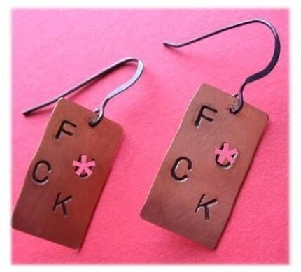 F CK Earrings MATURE -SALE - EBTW Make a Statement - by PawAndClawDesigns