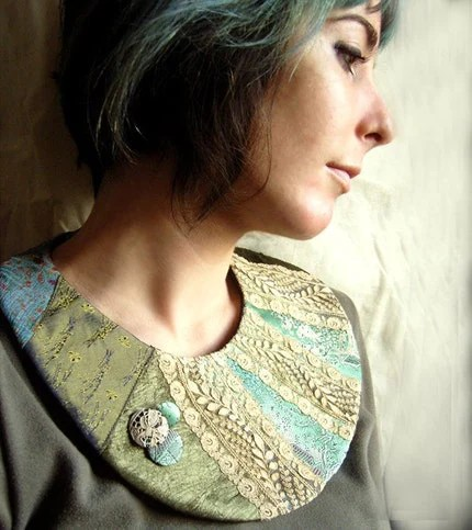 Textile necklace in Green, Blue and Antique Lace